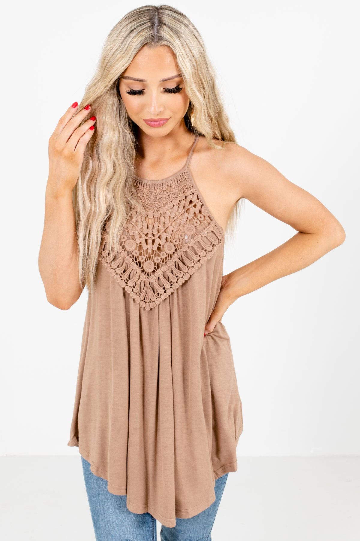 Brown Halter Style Boutique Tanks for Women