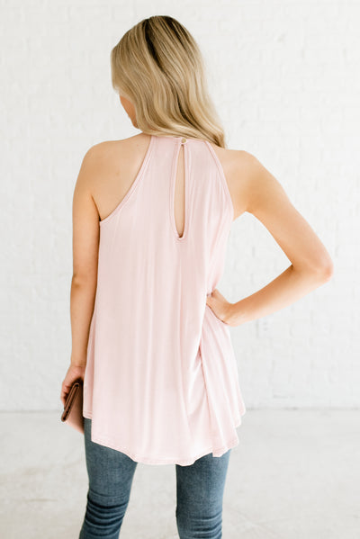 Blush Pink Women's Semi-Sheer Bodice Boutique Tank Top