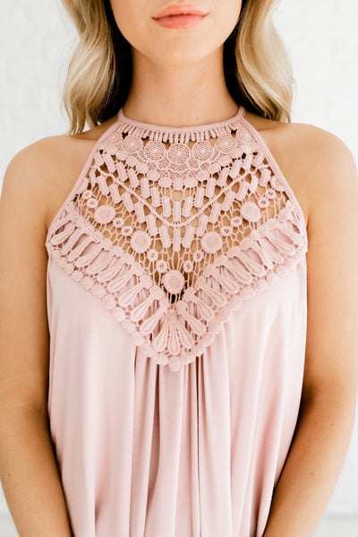 Blush Pink Boutique Tank Top with Keyhole Back Detail for Women