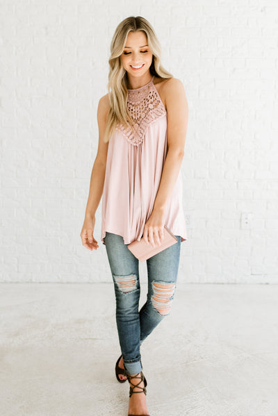 Cute Blush Pink Women's Flowy Boutique Tank Top