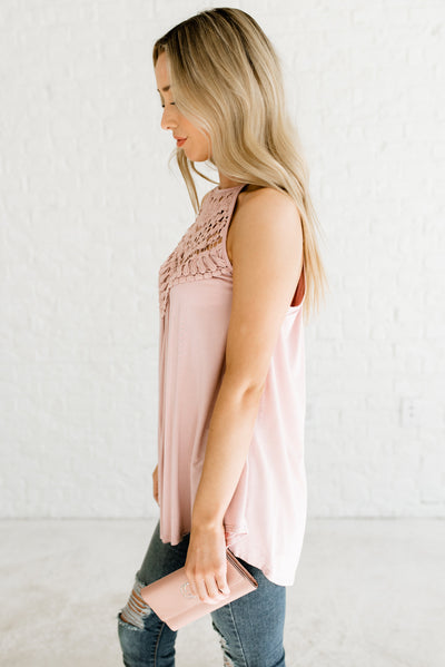 Blush Pink Women's Halter Style Boutique Tank Top