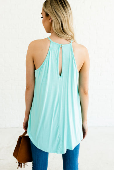 Mint Blue Women's Boutique Tank Top with Keyhole Back Detail