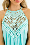 Mint Blue Halter Style Boutique Tank Tops for Women