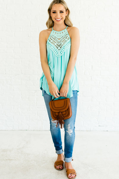 Mint Blue Flowy Flattering Boutique Tank Tops for Women