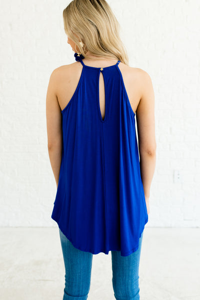 Royal Blue Women's Boutique Tank Top with Keyhole Back Detail
