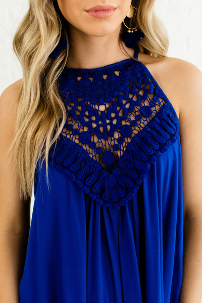 Royal Blue Halter Style Boutique Tank Tops for Women