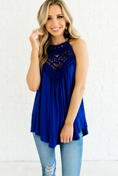 Royal Blue Crochet Lace Bodice Boutique Tank Tops for Women