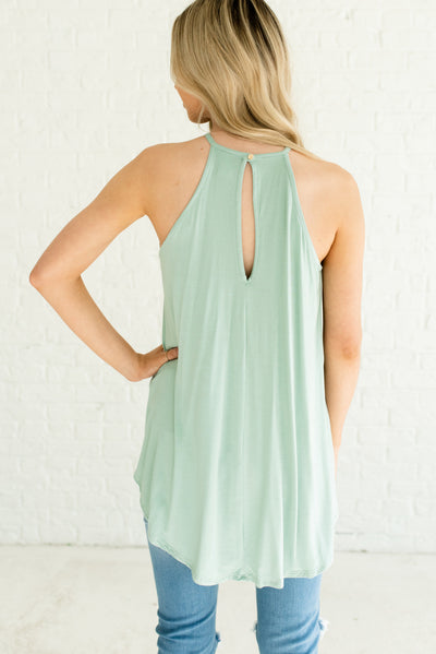 Sage Green Women's Boutique Tank Top with Keyhole Back Detail