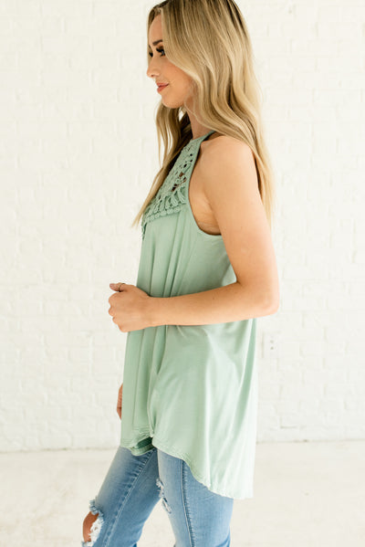 Sage Green Soft and Stretchy Boutique Tank Tops for Women