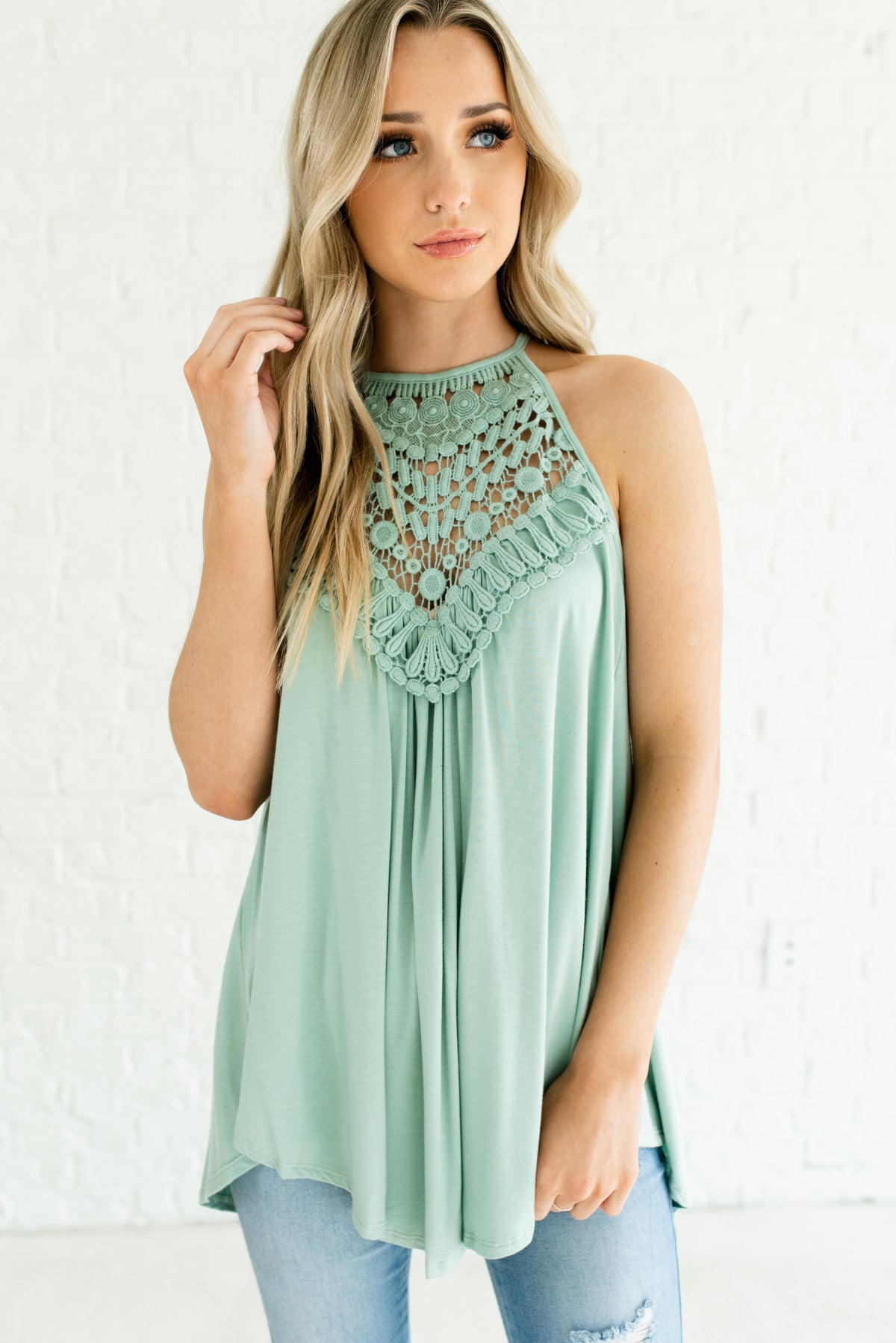 Sage Green Crochet Lace Bodice Boutique Tank Tops for Women