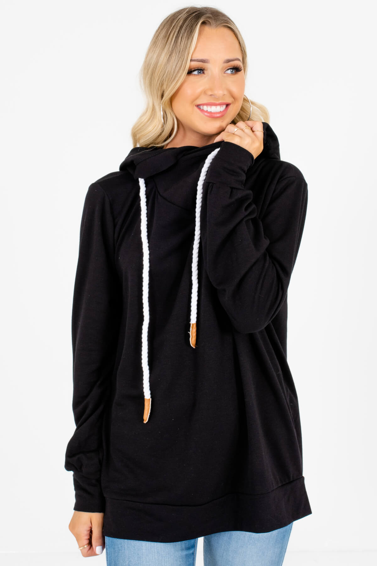 Black Soft and Stretchy Boutique Hoodies for Women