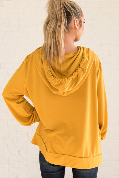Mustard Yellow Women's Funnel Neckline Boutique Hoodie