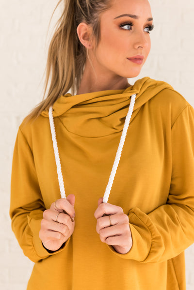 Mustard Yellow Warm and Cozy Boutique Hoodies for Women