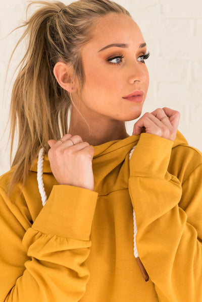 Mustard Yellow Boutique Hoodie with Rope Drawstrings for Women