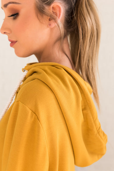 Cute Mustard Yellow Boutique Hoodie Outerwear for Women