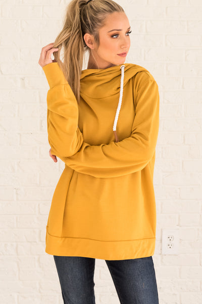Mustard Yellow Cute Boutique Hoodies for Women