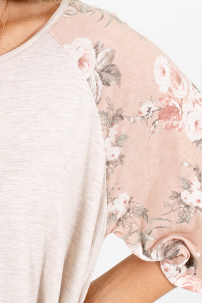 Women's Pink Floral Relaxed Fit Boutique Top