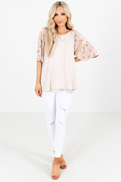 Pink and Beige Cute and Comfortable Boutique Tops for Women