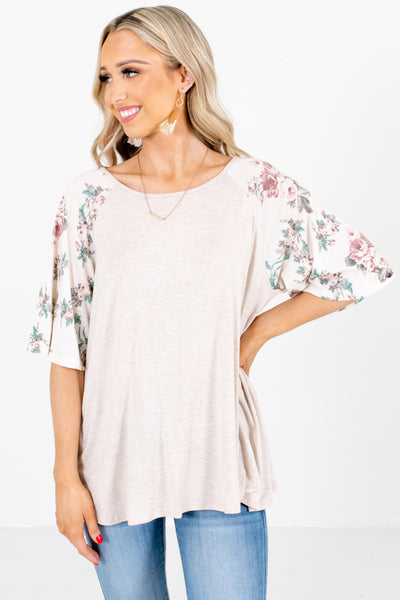 Beige and White Floral Patterned Sleeve Boutique Tops for Women