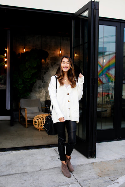 Cream White Button-Up High-Quality Thick Boutique Cardigans for Women
