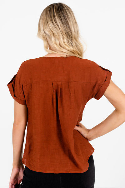 Women's Rust Orange V-Neckline Boutique Tops