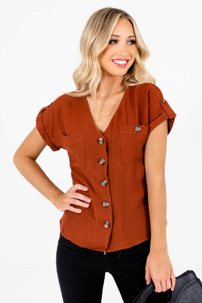 Rust Orange Button-Up Front Boutique Tops for Women