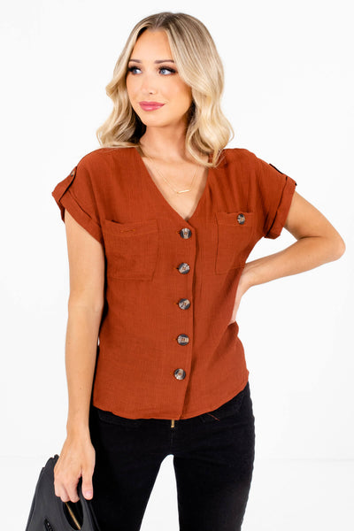 Rust Orange Business Casual Boutique Tops for Women