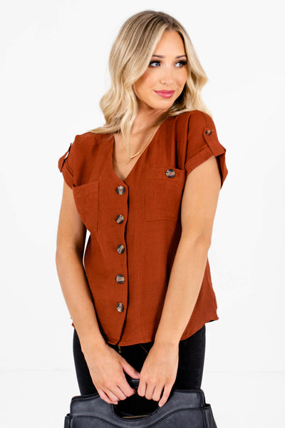 Women's Rust Orange Lightweight Textured Material Boutique Tops
