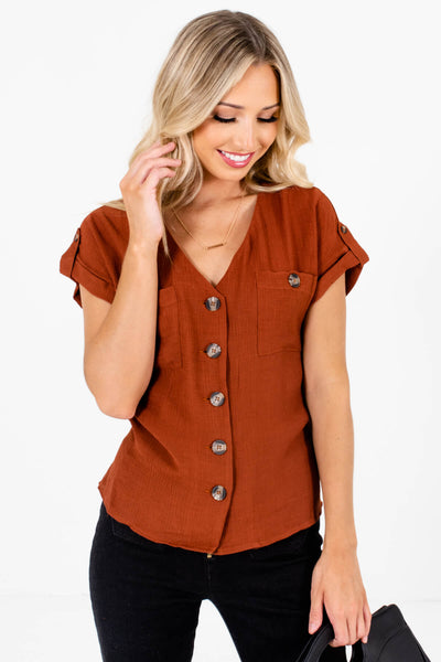 Women's Rust Orange Cuffed Sleeve Boutique Tops
