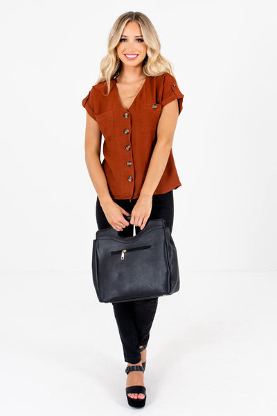 Women's Rust Orange Fall and Winter Boutique Tops