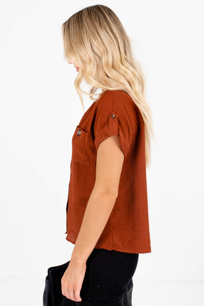 Rust Orange Front Pocket Boutique Tops for Women