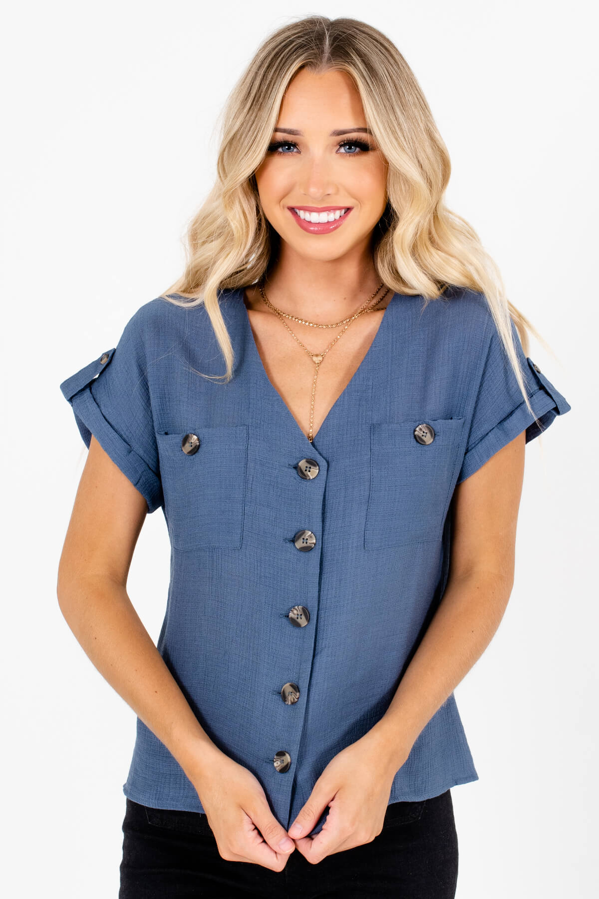 Slate Blue Button-Up Front Boutique Tops for Women
