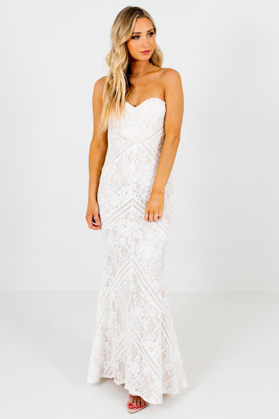 White Floral Lace Strapless Sweetheart Mermaid Boutique Formal Dresses