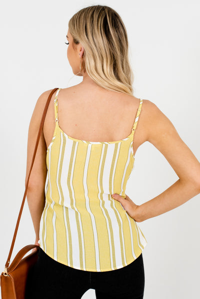 Women's Yellow-Green Tie Front Style Boutique Tank Tops