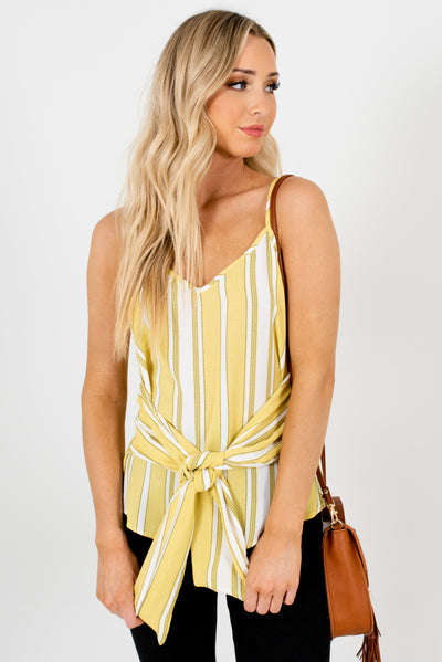 Yellow-Green Striped Cute and Comfortable Boutique Tanks for Women