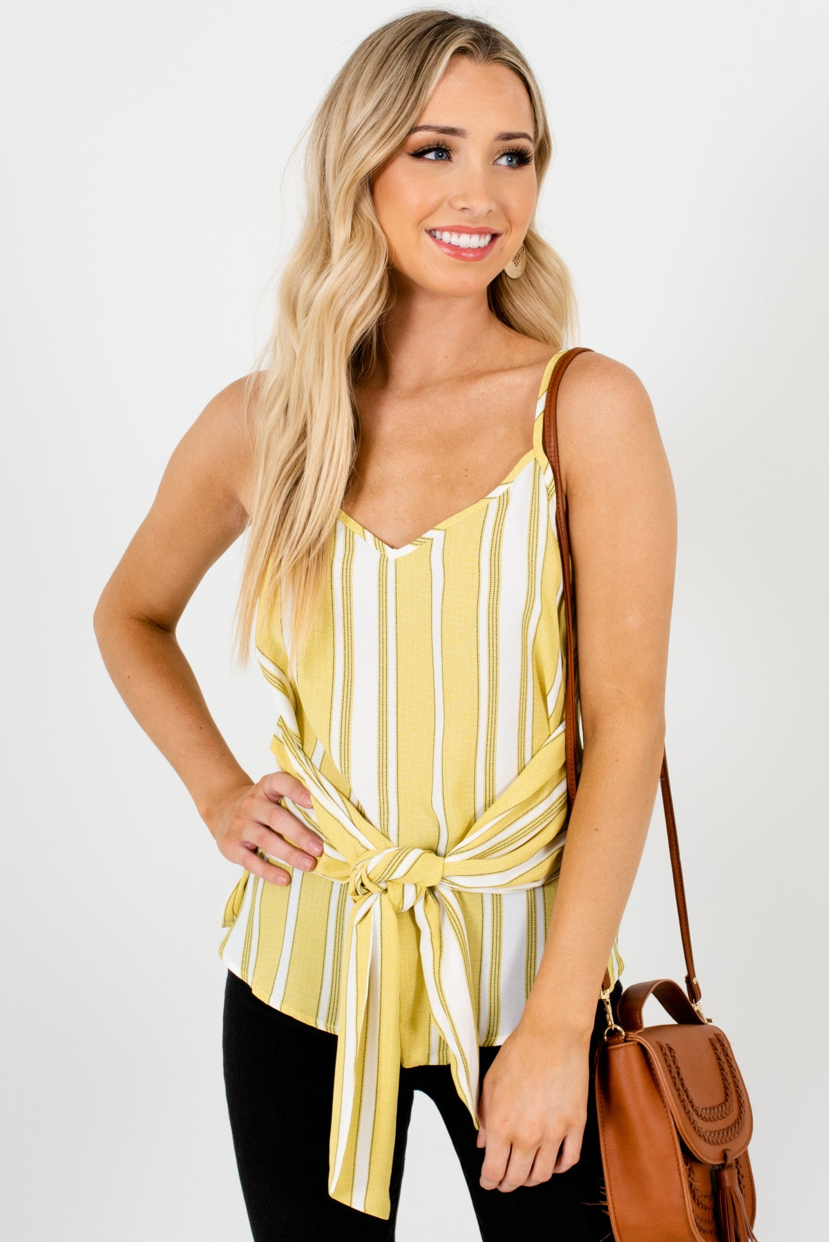 Yellow-Green Striped Patterned Boutique Tank Tops for Women