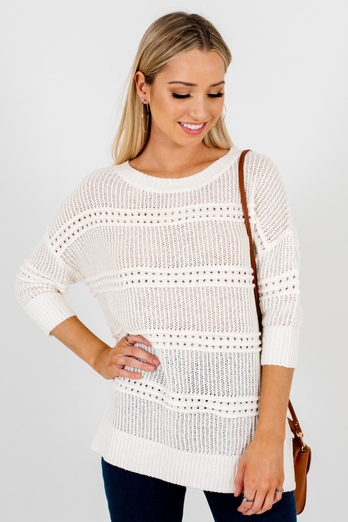 Cream Knit Sweaters Affordable Online Boutique Fashion for Women