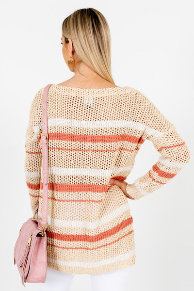 Beige Coral White Striped Sweaters with Striped Pattern