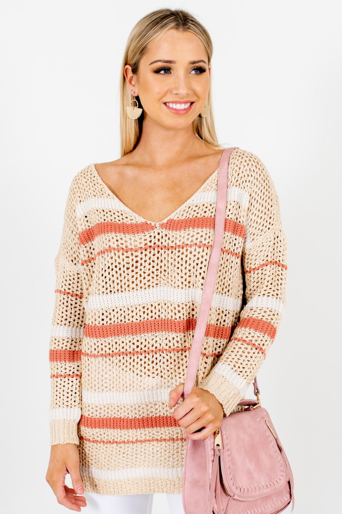 Beige Coral White Striped Loose Knit Sweater Affordable Online Boutique
