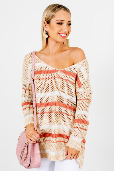 Beige Coral Striped Boutique Sweaters for Women