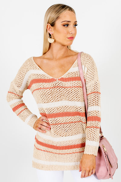 Beige Coral White Stripe Accent Loose Knit Sweaters