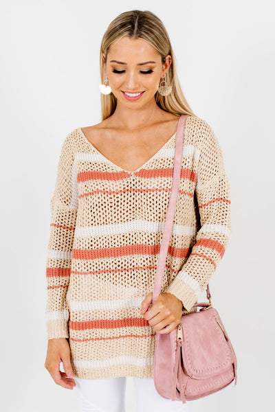 Beige Coral White Striped Loose Knit Sweaters for Women