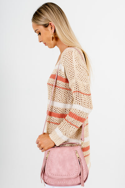Beige Coral White Striped Loose Knit Boutique Sweaters
