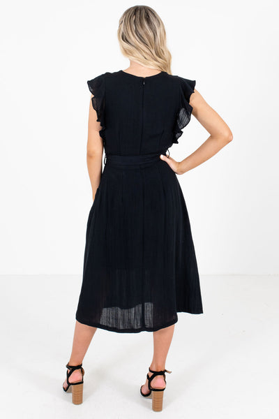 Women's Black Ruffle Sleeve Boutique Midi Dress