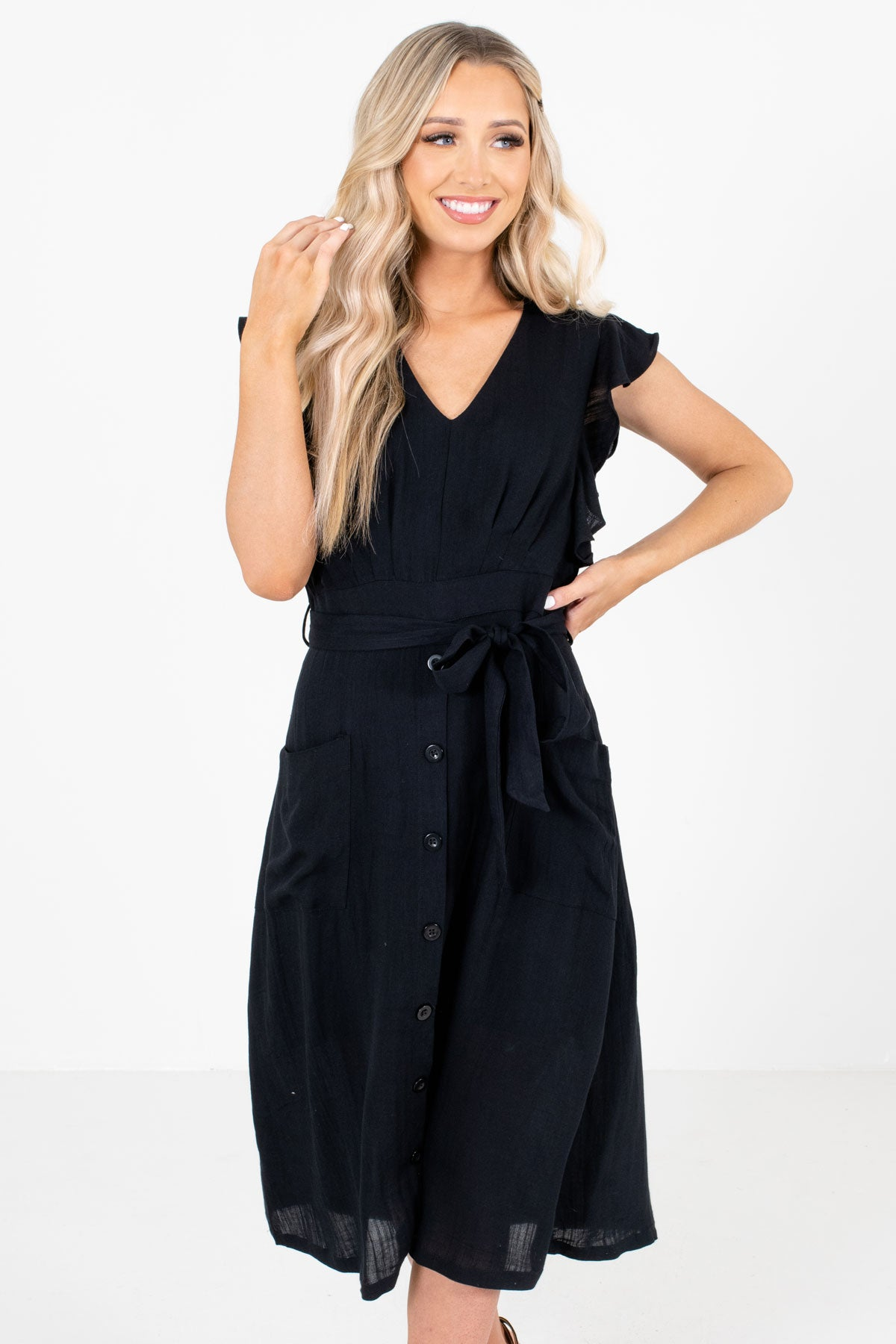 Black Decorative Button Boutique Midi Dresses for Women