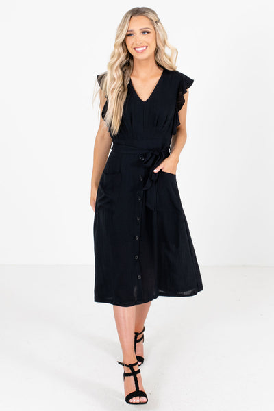 Women's Black Fully Lined Boutique Midi Dress