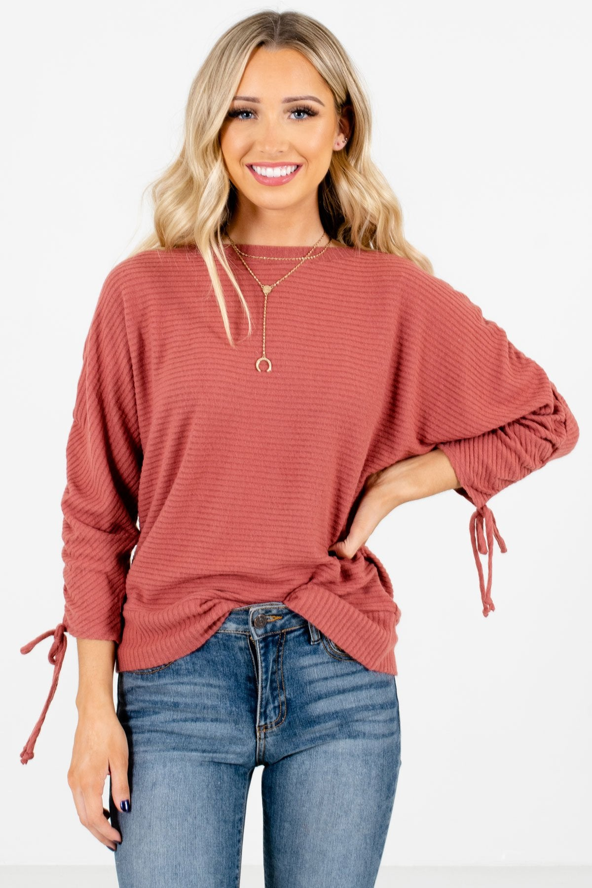 Pink Ruched Sleeve Boutique Tops for Women