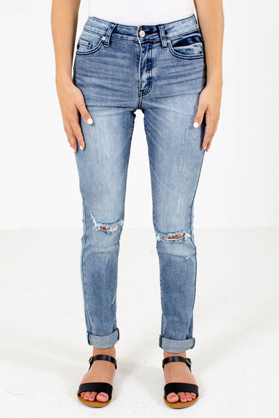 Blue Cute and Comfortable Boutique Jeans with Pockets for Women