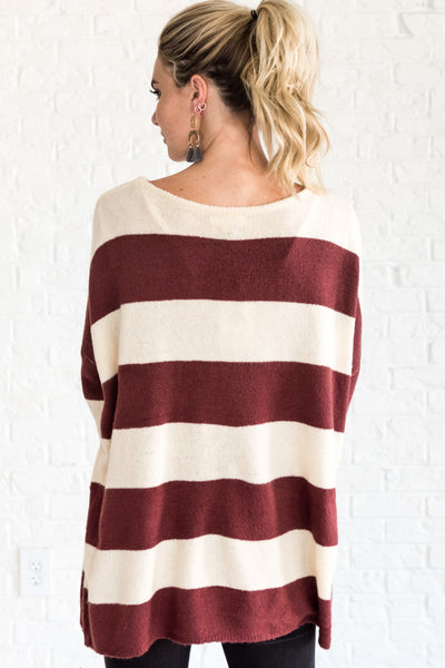 Red Cream Striped Pullover Boyfriend Sweaters Cozy Warm Winter Clothing Boutique