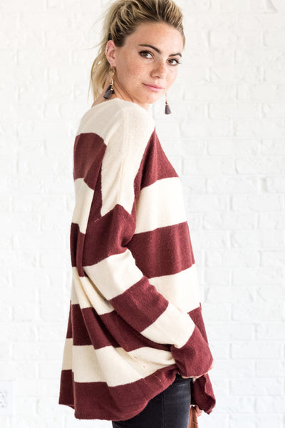 Red Striped Cozy Warm Oversized Women's Outerwear